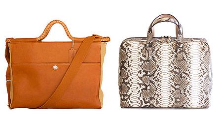 左:新作の2WAYプレミアムビジネスバッグ。イタリア製本革と日本製キャンバスの素材コンビで、4つ丸編みハンドルが高級感を引き立てている。 右:パイソンビジネスバッグ。シンプルで飽きのこないデザインに、口開きの良いラウンドジッパーで使いやすさも抜群。