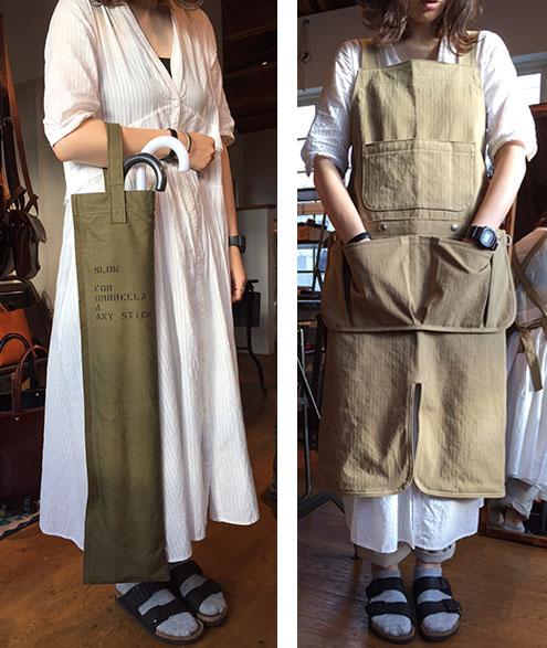 アンブレラケースとワークシーンに重宝する帆布のエプロン。これらは新しいスロウの鎌倉工房にて生産していく予定